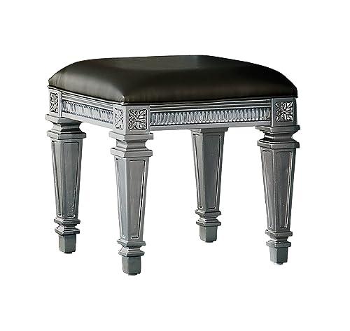 Homelegance Bevelle Glamorous Modern Design Vanity Stool with Bi-Cast Vinyl Seat, Silver