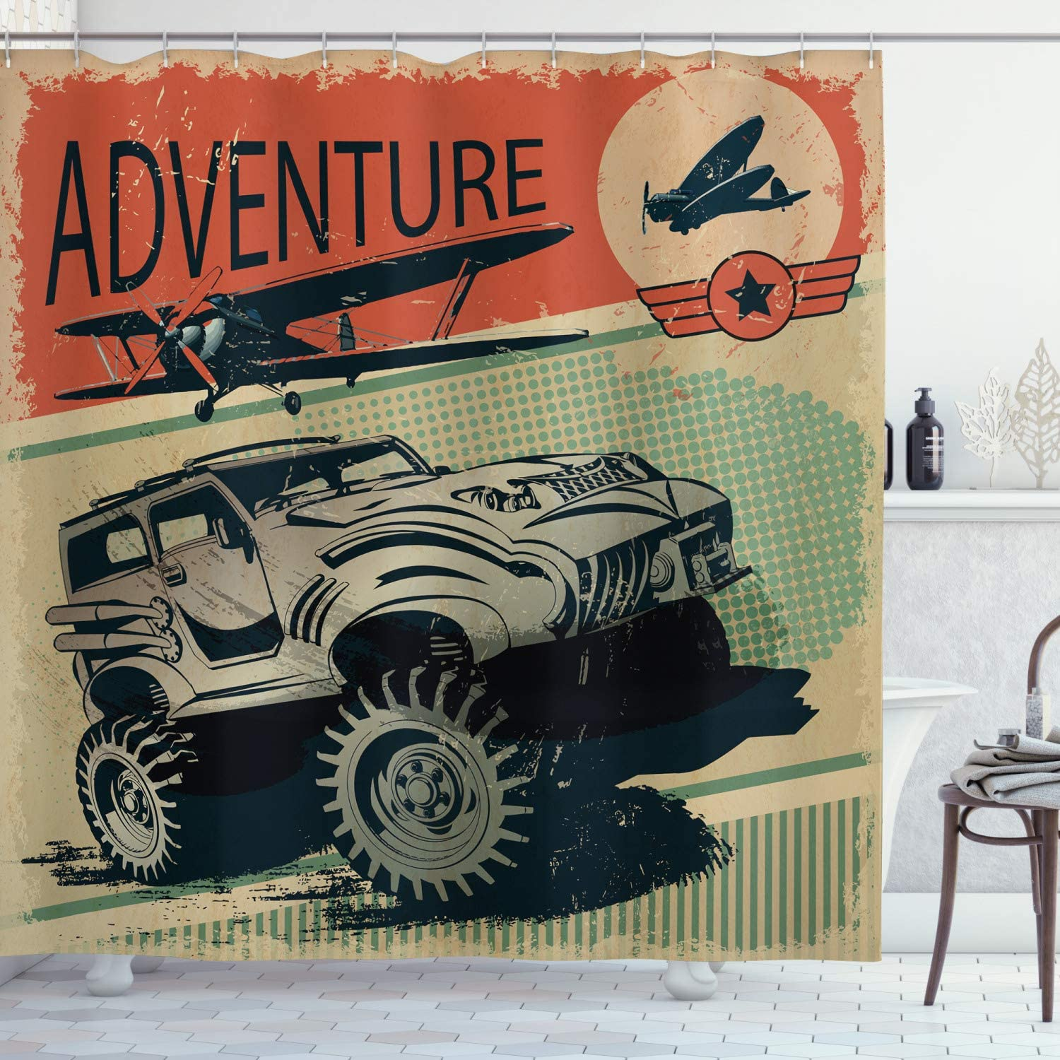 Ambesonne Adventure Shower Curtain, Aged Damaged Display with Retro Elements Strong Vehicle and Airplanes Print, Cloth Fabric Bathroom Decor Set with Hooks, 70