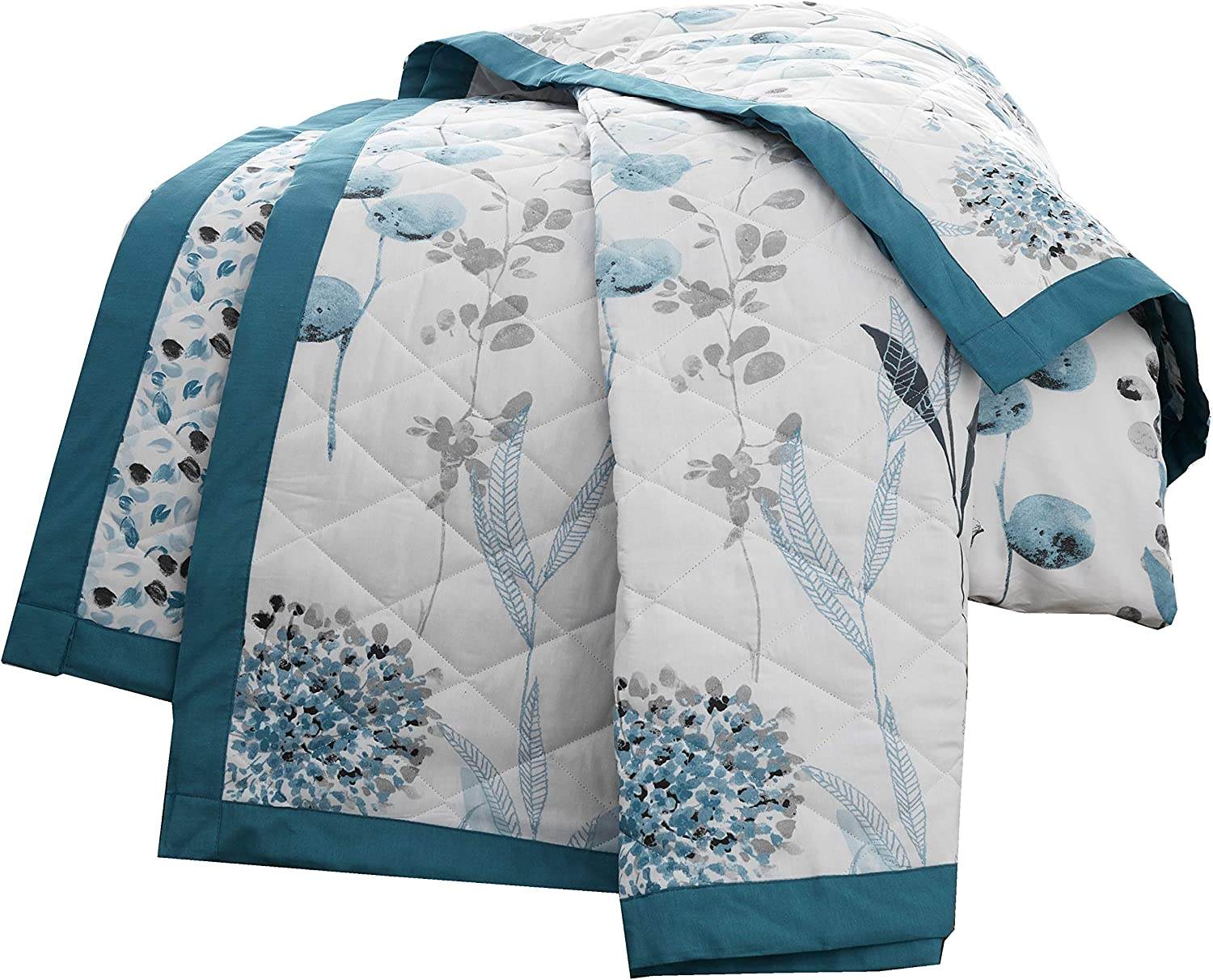 Lancashire Bedding Inky Floral Bedspread in Royal Blue