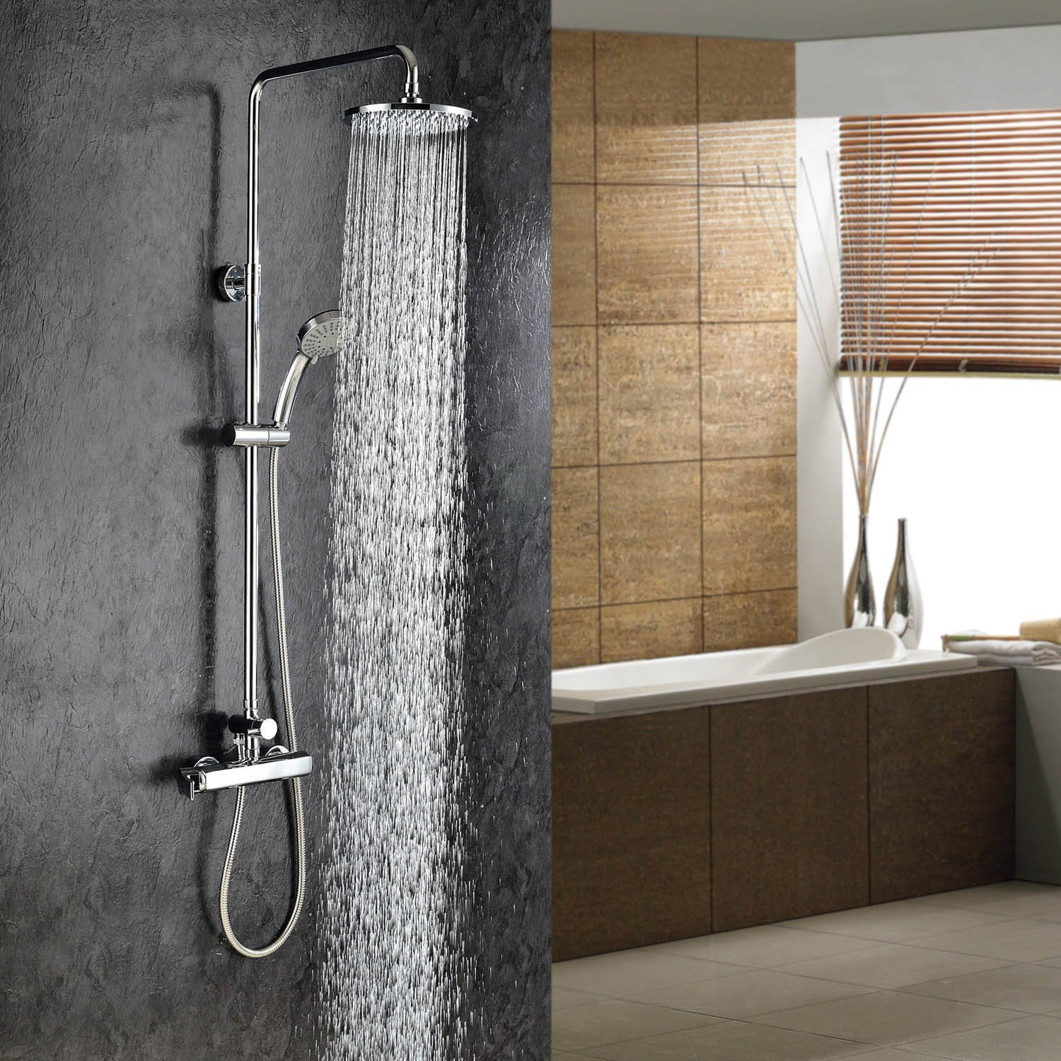 Wall Mount Contemporary Chrome Finish Rainfall Shower Faucet