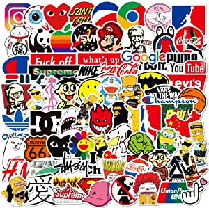 Cool Stickers Pack 100pcs,Skateboard Stickers for Teens, Random Sticker Bomb,Brand Decal Stickers for Skateboard Bike Laptop Water Bottles(100 Pack)