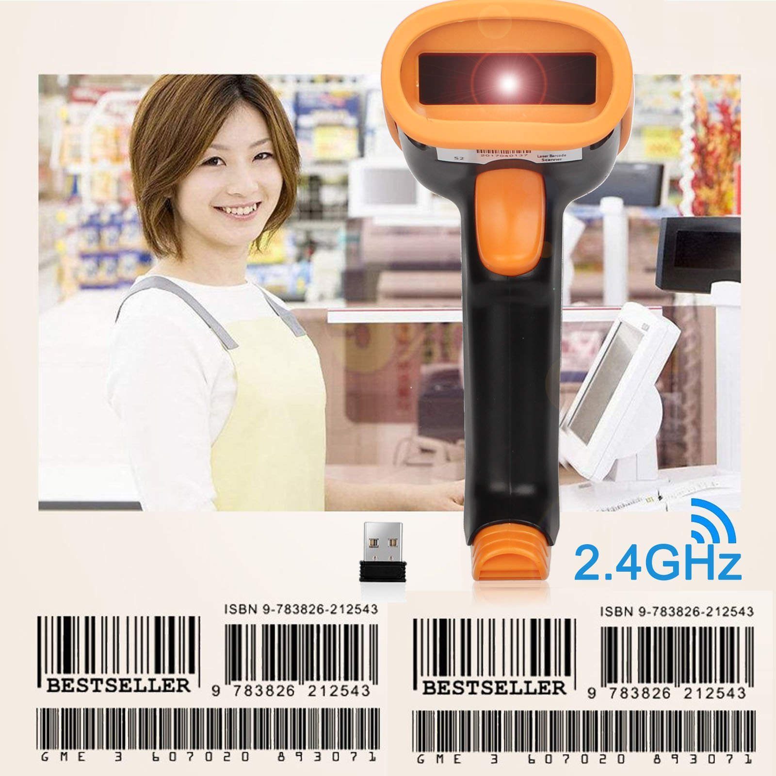 1D 2.4GHz Wireless Barcode Scanner, Portable 2.4GHz Wireless & USB2.0 Wired Barcode Reader with USB Receiver Cable for Supermarket Library Express Company Retail Store Warehouse (New)