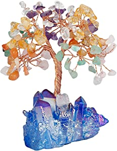 mookaitedecor Colorful Crystal Tree, Quartz Cluster Blue Titanium Crystals Base Bonsai Money Tree for Wealth and Luck