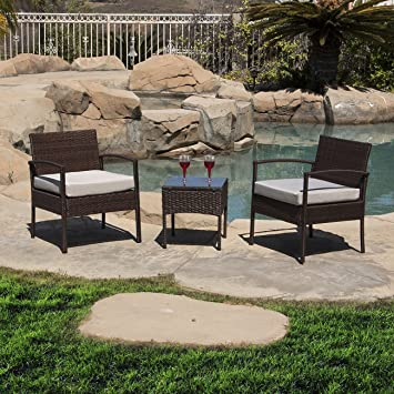 Belleze 3 PC Rattan Patio Furniture Set Wicker Garden Lawn Chair Cushioned  Seat Coffee Table,