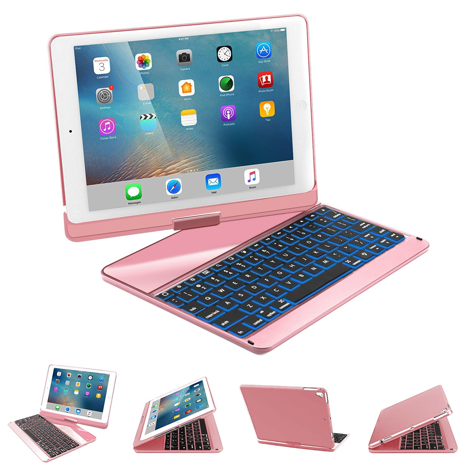 iPad 9.7 Keyboard Case, SENGBIRCH 7 Colors Backlit Bluetooth Keyboard Case Folio Smart 360 Rotate Stand Cover for iPad Air, iPad Air 2, iPad pro 9.7, iPad 9.7 2017/2018 Tablet, Rose Gold