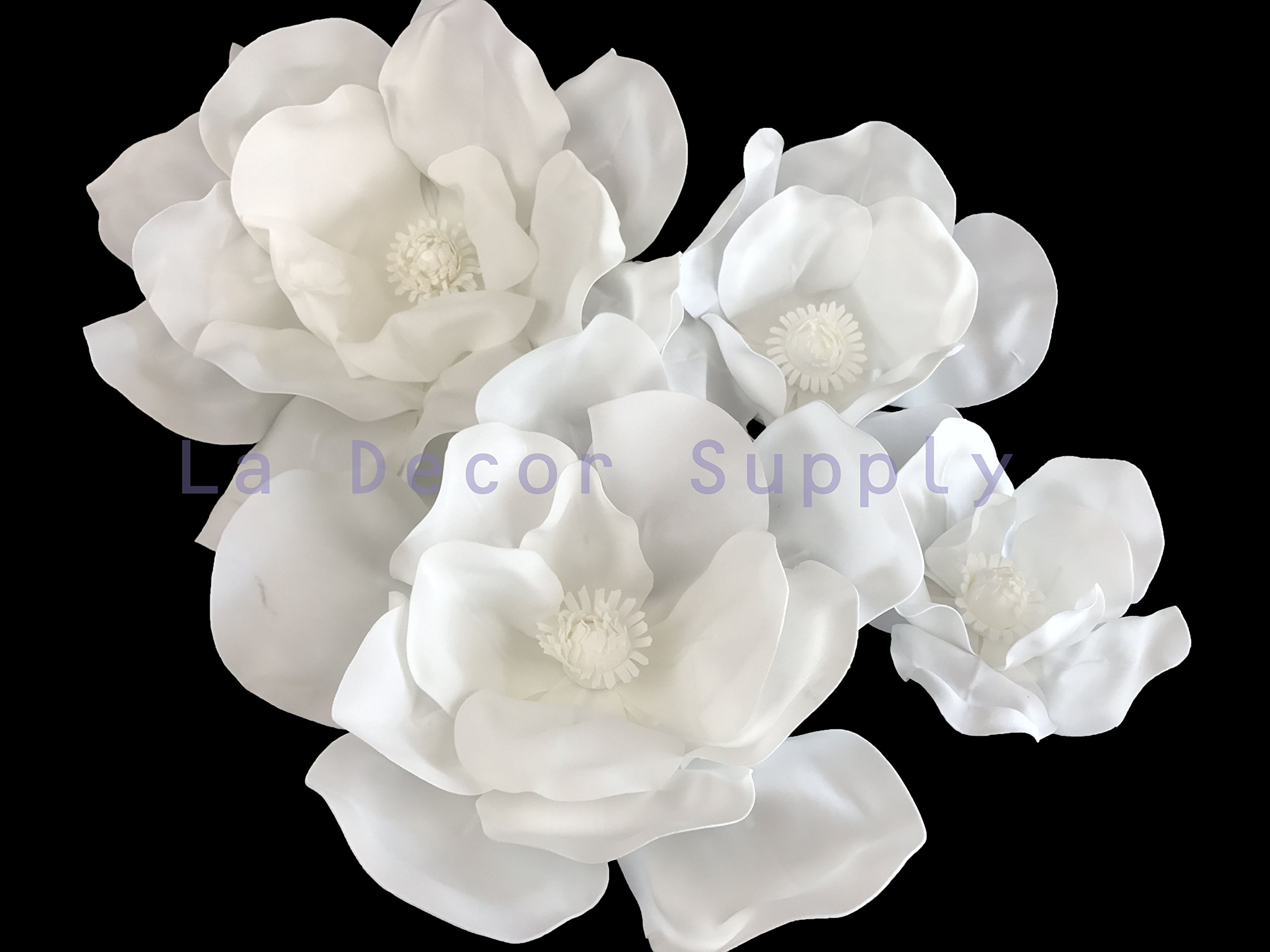 Set of 4 Classic Elegant Giant foam Flowers(FLOATING). Real Touch 3D Artificial Magnolia. Wedding Backdrop, Photo-booth, Backdrop, Nursery, Wall, Archway, Home Decoration Centerpiece (White)