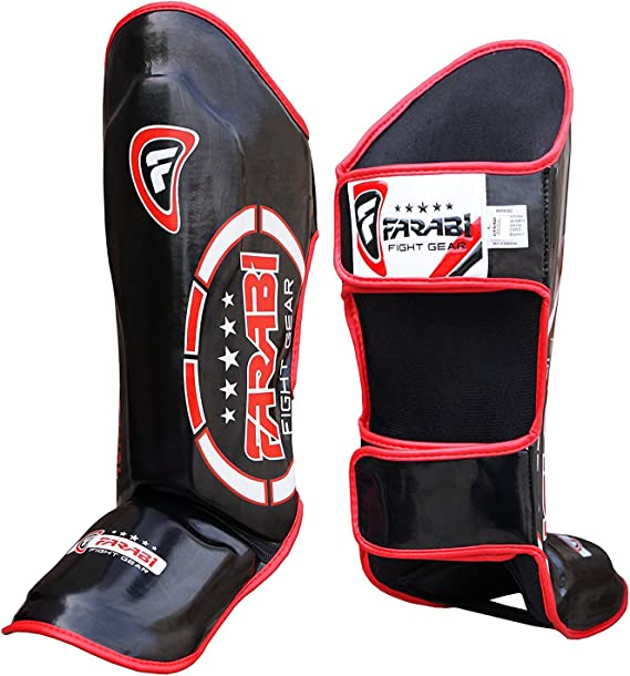 adsin/® Fight Prep Prot/ège-Tibias en Cuir pour MMA UFC Muay Thai Kick Boxing Fitness Kickboxing Sparring Taille S M L XL