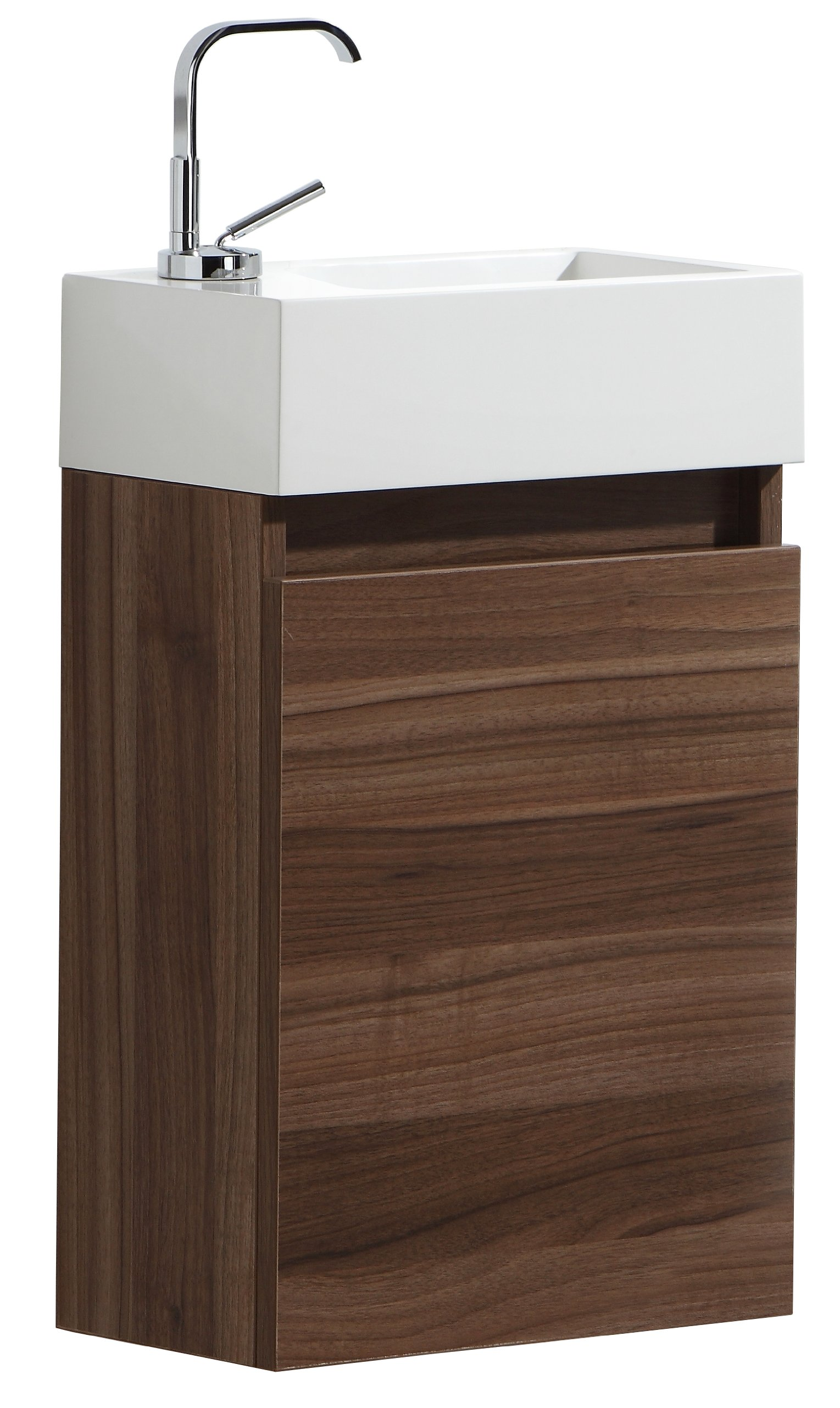 Luxo Marbre RELAX V40 W Relax Vanity with Synthetic Marble Sink, Walnut - Includes: single-door vanity with white synthetic marble sink, plug and single faucet hole Available in choice of two colors: Walnut or Alamo Oak Rectangular basin 15.75-Inch x 4.5-Inch x 8.75-Inch, 1.5-Inch drain opening - bathroom-vanities, bathroom-fixtures-hardware, bathroom - 812p3%2BXH6AL -