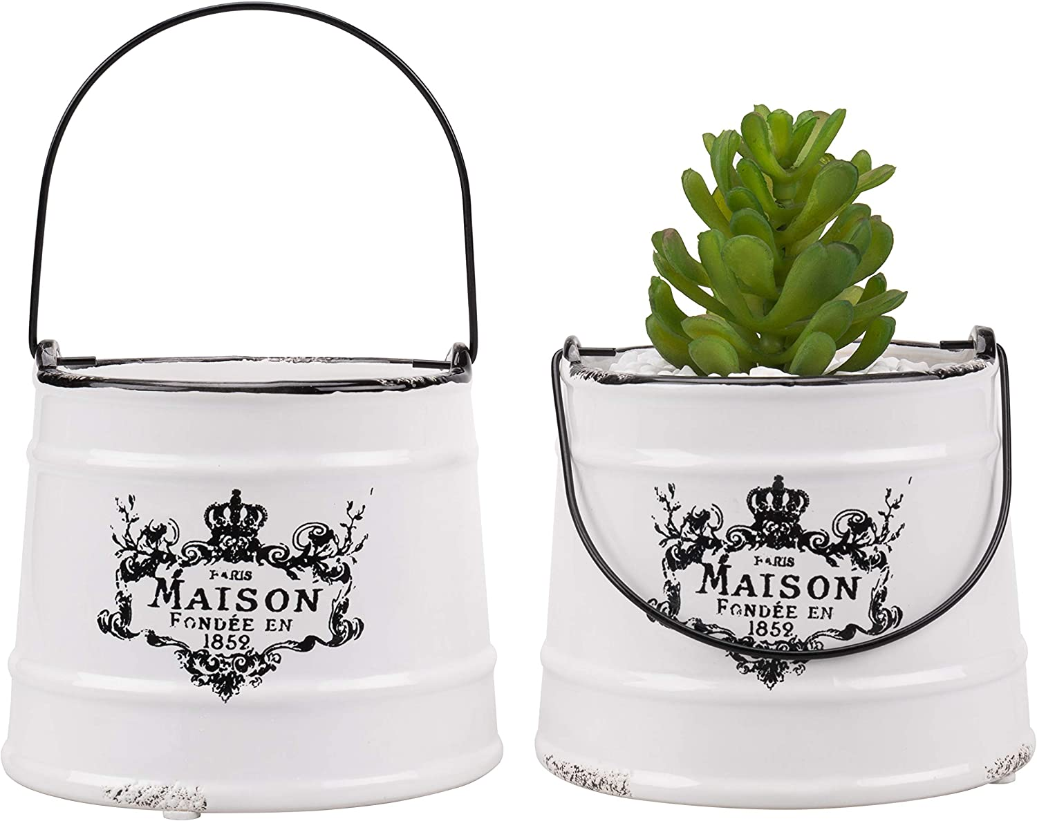 MyGift Rustic White Ceramic French Maison Pail Design Planter Pot, Set of 2