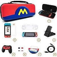 Kit de Accesorios Nintendo Swich 8 en 1 [Incluye: Funda de Viaje, 2 Protector de Pantalla Vidrio Templado 9H, Carcasa Transparente Joy-Con y Consola, Soporte para Nintendo Switch Ajustable y Multi-Angulo, Empuñadura para Joy-Con, 4 Joy-Con Pulgar Grips, Estuche Tarjetas de Juego, Cable USB] - Mario Rojo con Azul