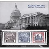 WASHINGTON DC 2006 WORLD PHILATELIC EXHIBITION #4075 Souvenir Sheet of 3 US Postage Stamps