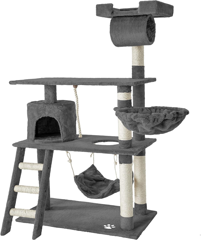 TecTake Rascador para Gatos Árbol para Gatos Sisal Juguetes 141 cm (Gris | no. 401853)