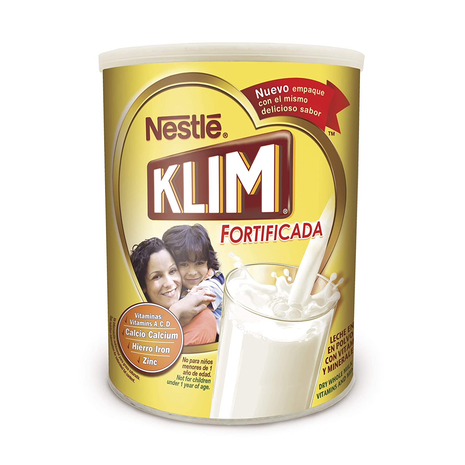 Amazon.com : Nestle KLIM Fortificada Dry Whole Milk Powder 12.7 oz. Canister : Grocery & Gourmet Food