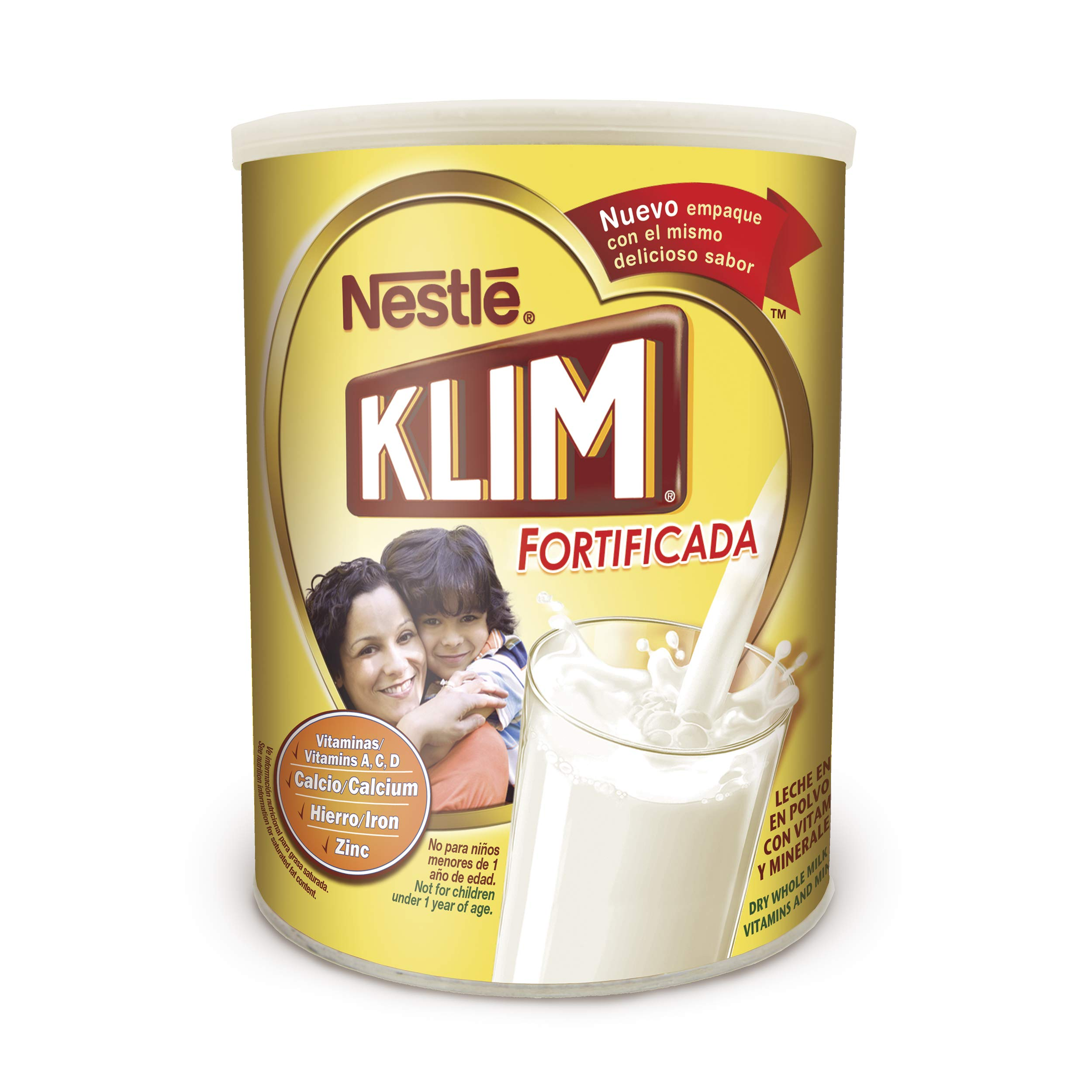 Nestle KLIM Fortificada Dry Whole Milk Powder 56.3 oz. Canister