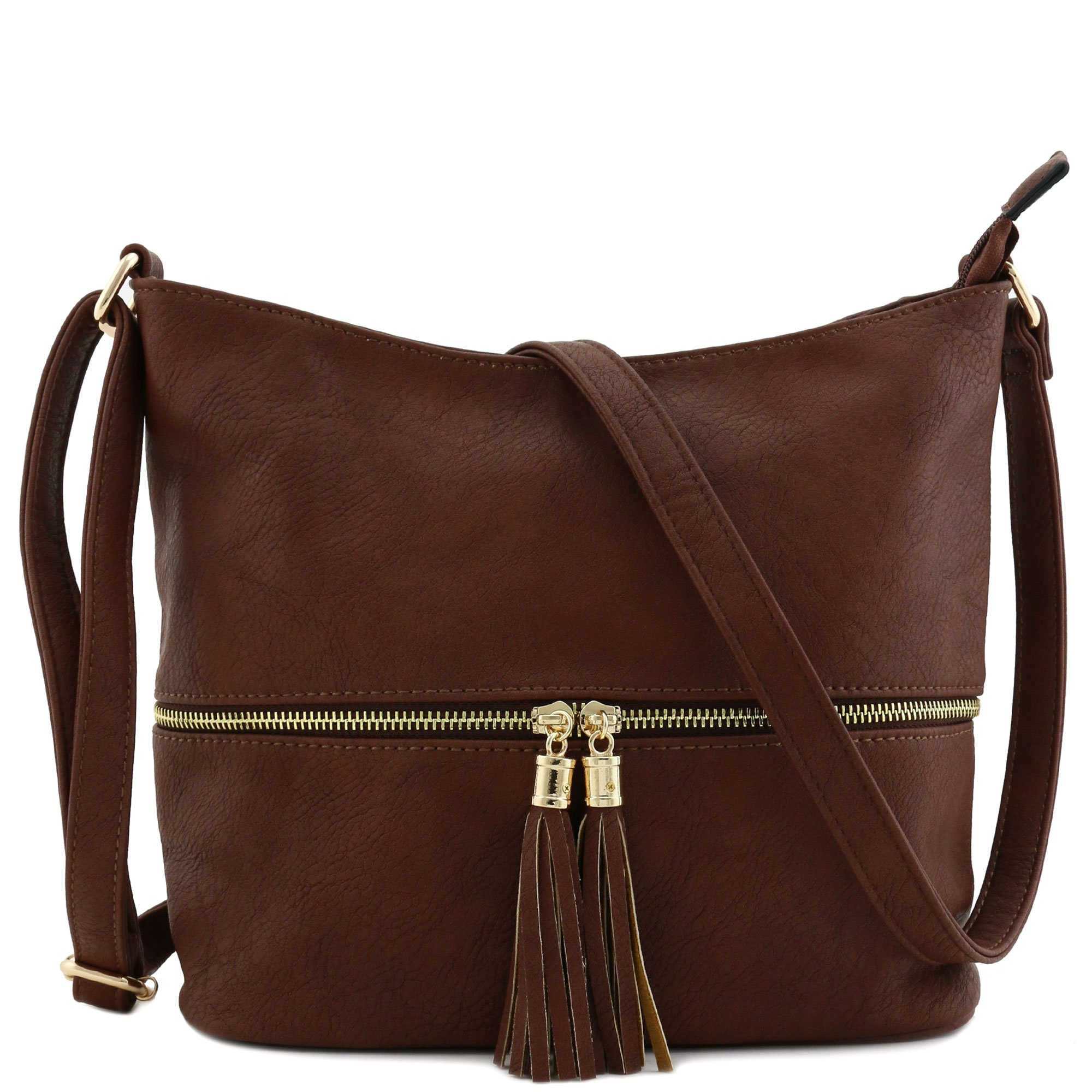 Tassel Zipper Bucket Crossbody Bag Coffee