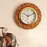 eCraftIndia Crystal Studded Embellish Wooden and Papier-Mache Wall Clock (30.48 cm x 2.54 cm x 30.48 cm)