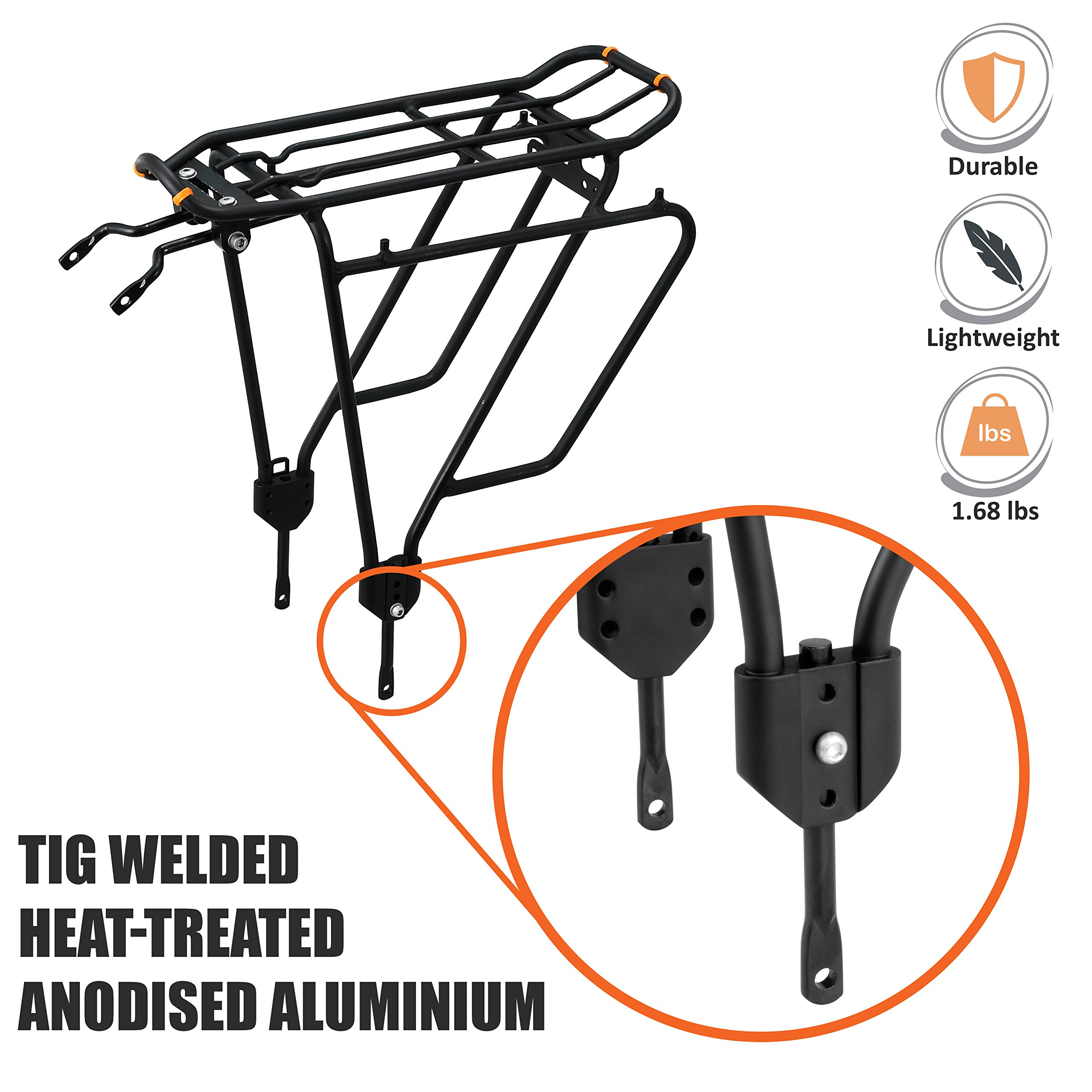 Ibera Bike Rack - Bicycle Touring Carrier Plus+ for Non-Disc Brake Mount, Frame-Mounted for Heavier Top & Side Loads, Height Adjustable for 26''-29'' Frames by Ibera (Image #2)