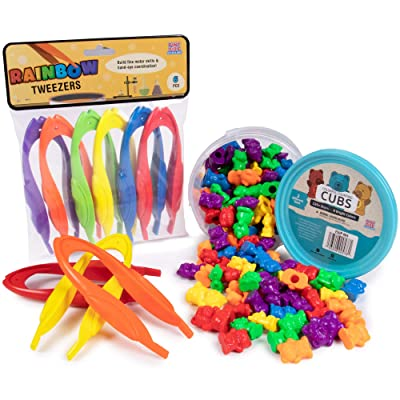 Colorful Counting Bear Cubs & Jumbo Rainbow Tweezers - Includes Bucket of 125+ Bears and 6 Pairs of Tweezers - Great for Early Childhood Education, Preschool Prep, Daycare Activities, Montessori Toys: Toys & Games