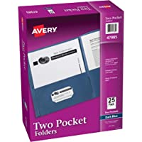 Avery Two Pocket Folders, Holds up to 40 Sheets, Business Card Slot, 25 Dark Blue Folders (47985)