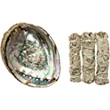 """Cleansing Kit with Abalone Shell and Three California White Sage Smudge Sticks (5""""-6"""" Abalone Shell)"""