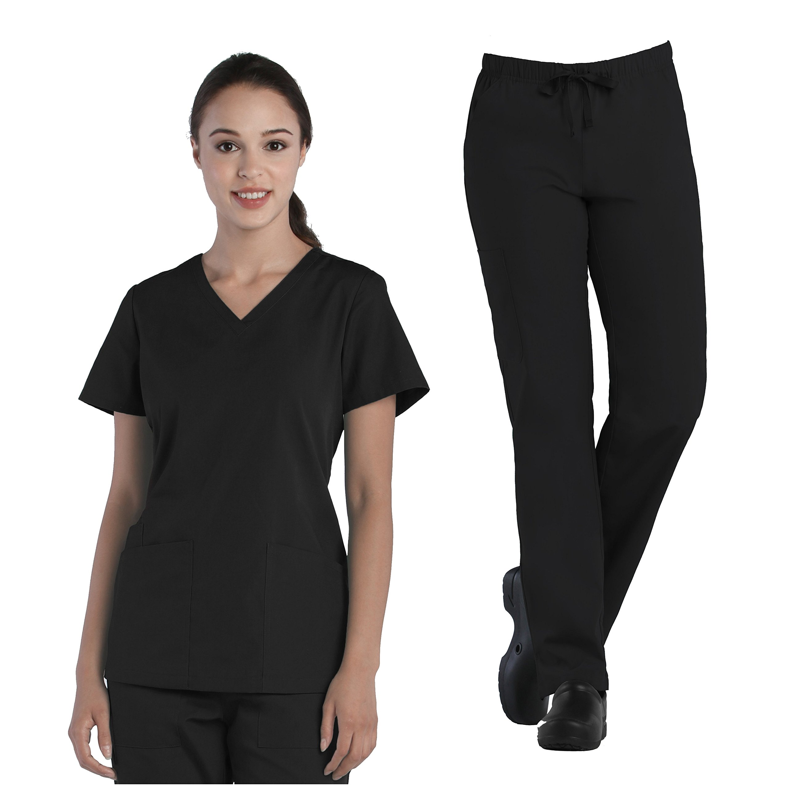 Tru Basic Womens V-Neck Top 10102 & Full Elastic Multi Pocket Cargo Pant 90103 Scrub Set (Black, Large Tall)