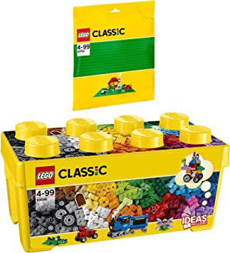 LEGO Classic 2 Piezas. Set 10696 10700 - Caja de Ladrillos (tamaño Mediano), Color Verde: Amazon.es: Juguetes y juegos