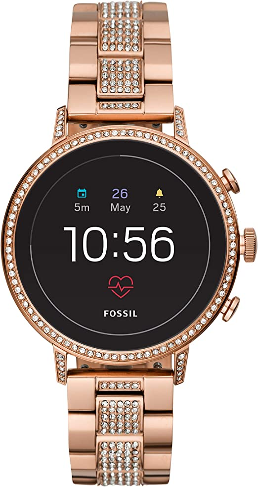 Amazon Com Fossil Women S Gen 4 Venture Hr Heart Rate Stainless Steel Touchscreen Smartwatch Color Rose Gold Model Ftw6011 Watches