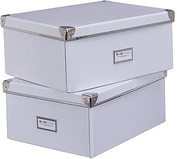Bigso 552204801 - Caja, cartón y metal, 36 x 28 x 16 cm, 2 piezas, color blanco: Amazon.es: Hogar