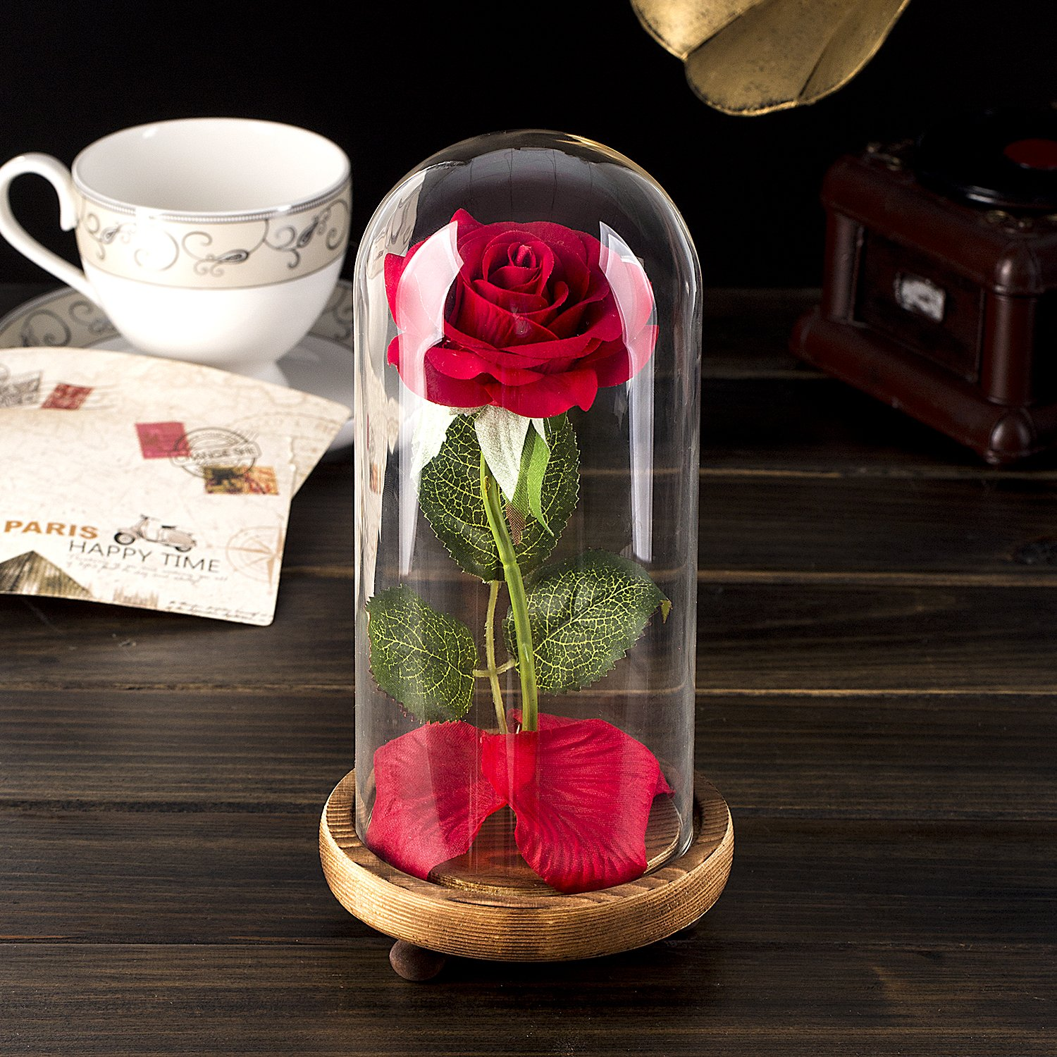 Beauty and the beast rose kit red silk rose and led light with beauty and the beast rose kit red silk rose and led light with fallen petals in glass dome on wooden base for home decor holiday party wedding izmirmasajfo Choice Image