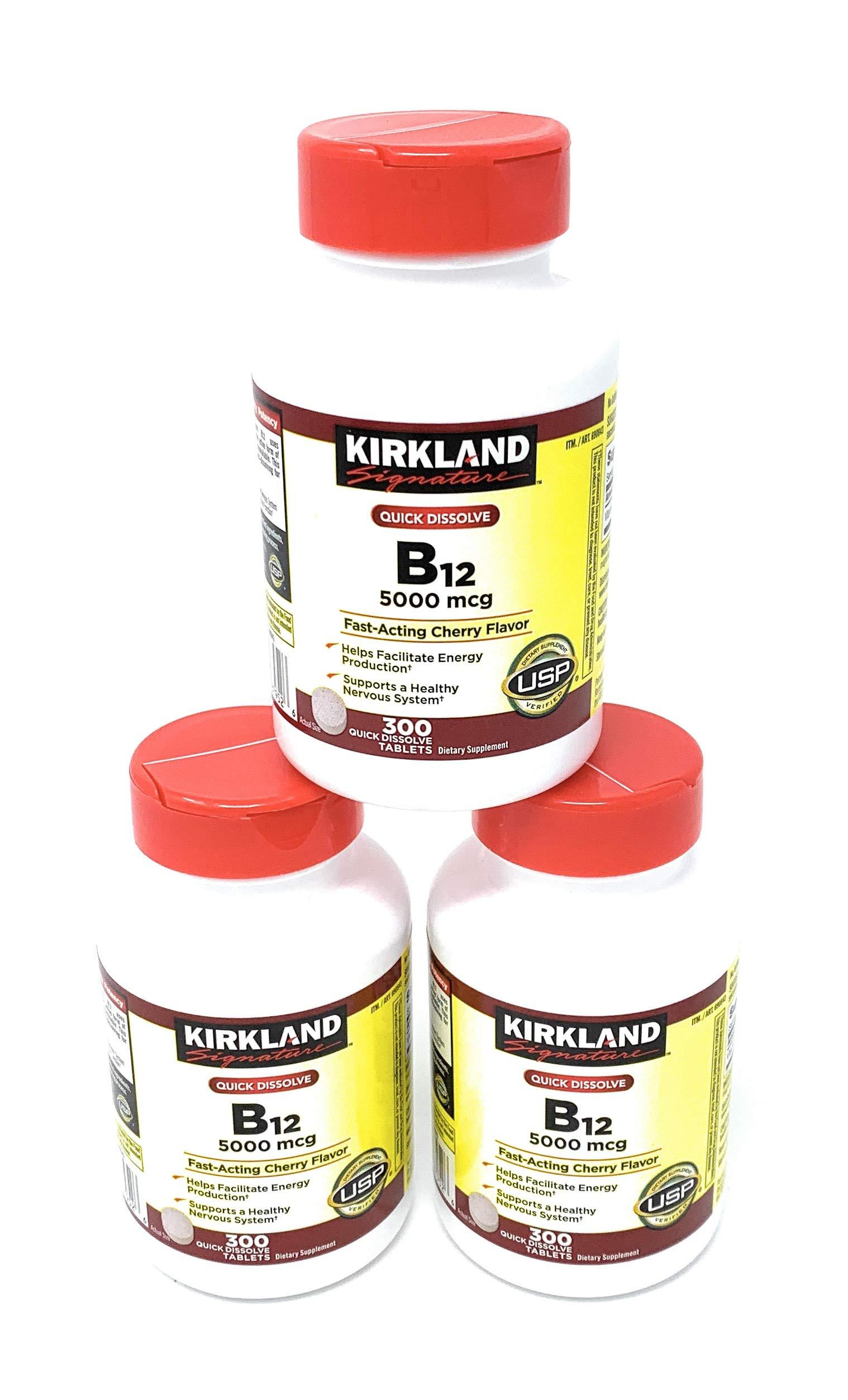 Kirkland Signature Sublingual B-12 5000 mcg, 3 Bottles (300 Tablets)