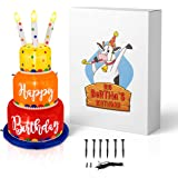 Big Bertha's Birthday 6 Ft Giant Inflatable Happy Birthday Cake with Lighted Candles - Light Up Indoor and Outdoor Blow Up Pr