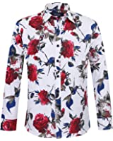 APTRO Men's Cotton Fashion Shirt Luxury Design Long Sleeve Floral Shirt