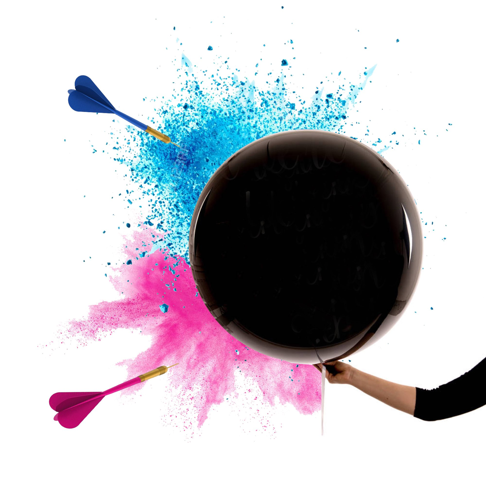 Gender Reveal King-Size Bomb Smoke 36'' Black Balloon Pink and Blue Powder Two Darts Gender Reveal Balloon