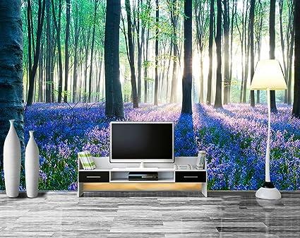 AQSGH 3D maderas verdes flores de color púrpura flores mar paisaje murales sala de estar sofá fondo de pantalla de papel tapiz entero sin fisuras, arte de la moda de terciopelo (empalme):