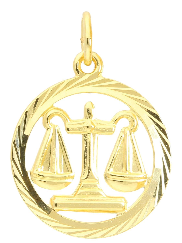 MyGold Sternzeichen Anhänger Waage (Ohne Kette) Gelbgold 333 Gold (8 Karat) Diamantiert Innen Offen Ø 15mm Rund Tierkreiszeichen Horoskop Goldanhänger Geschenke Geschenkideen Gavno A-04433-G302-Waa