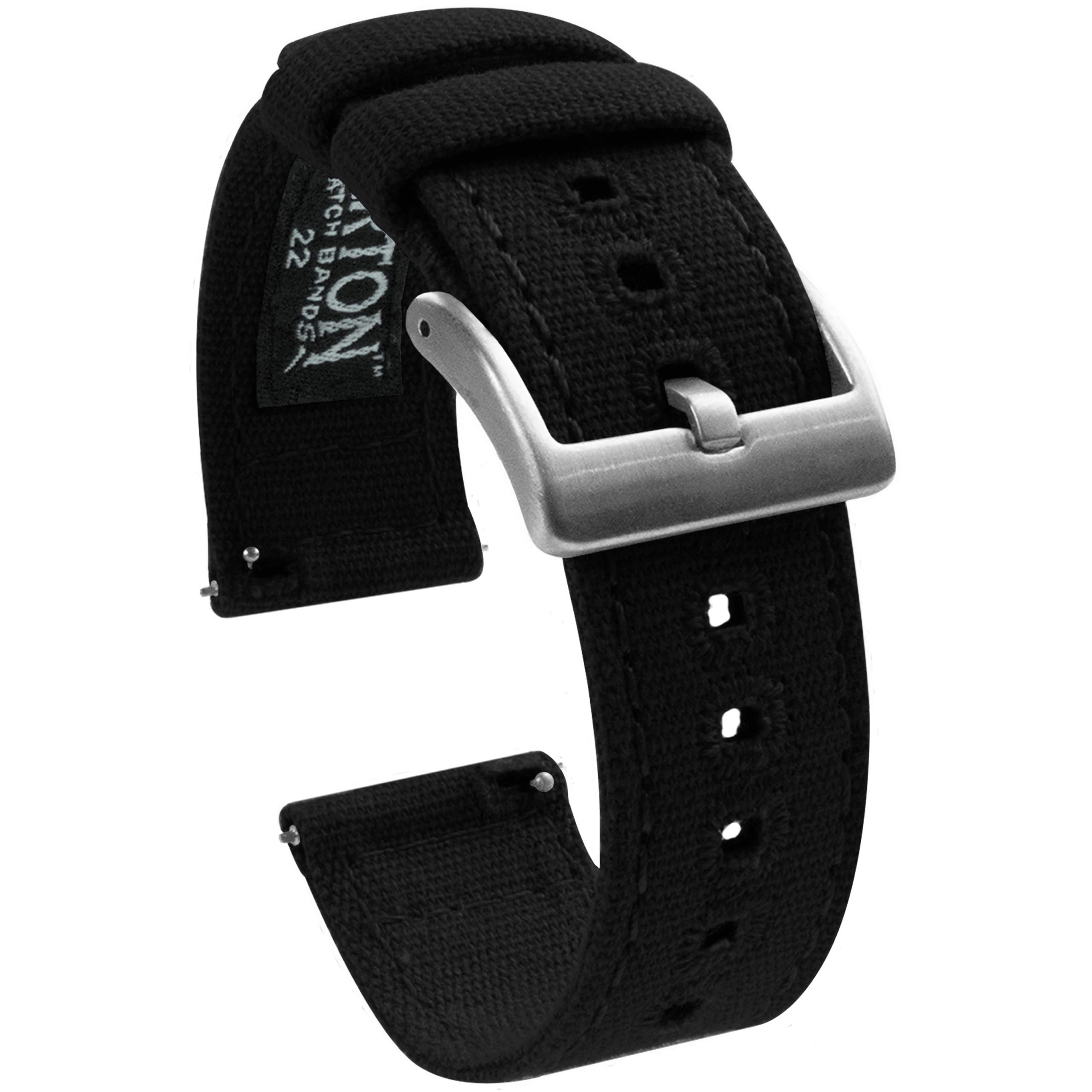 22mm Black - Barton Canvas Quick Release Watch Band Straps - Choose Color & Width - 18mm, 19mm, 20mm, 21mm, 22mm, or 23mm by Barton Watch Bands