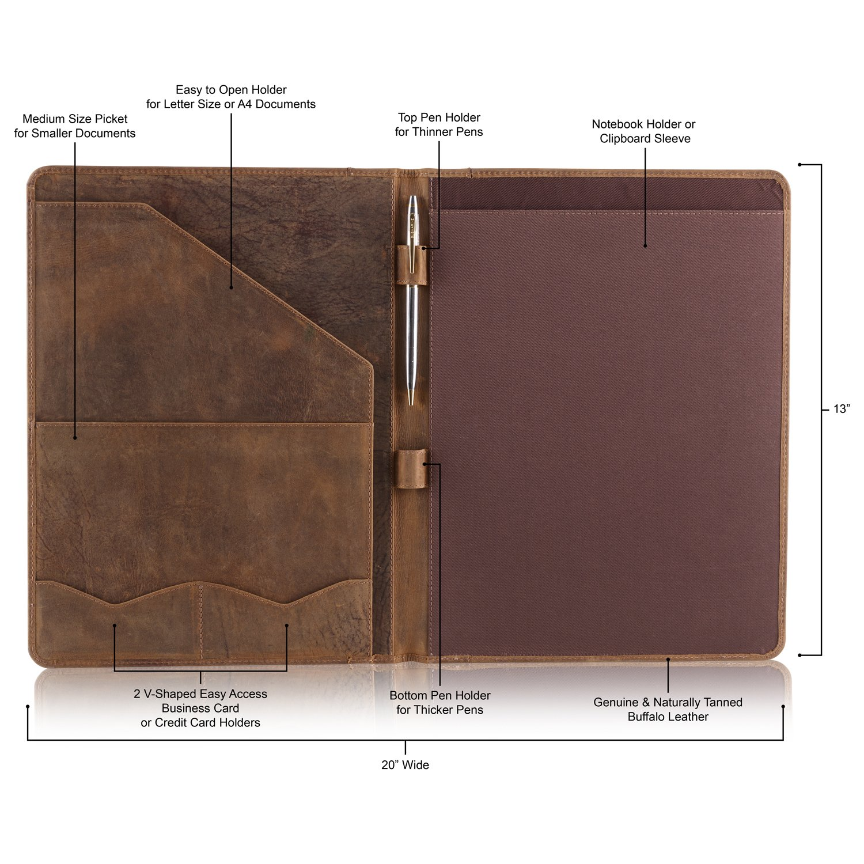 Leather Portfolio Professional A4 Padfolio - Document & CV Folder ...