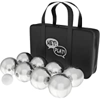 Hey! Play! Petanque/Boules Set for Bocce & More, 8 Steel Tossing Balls