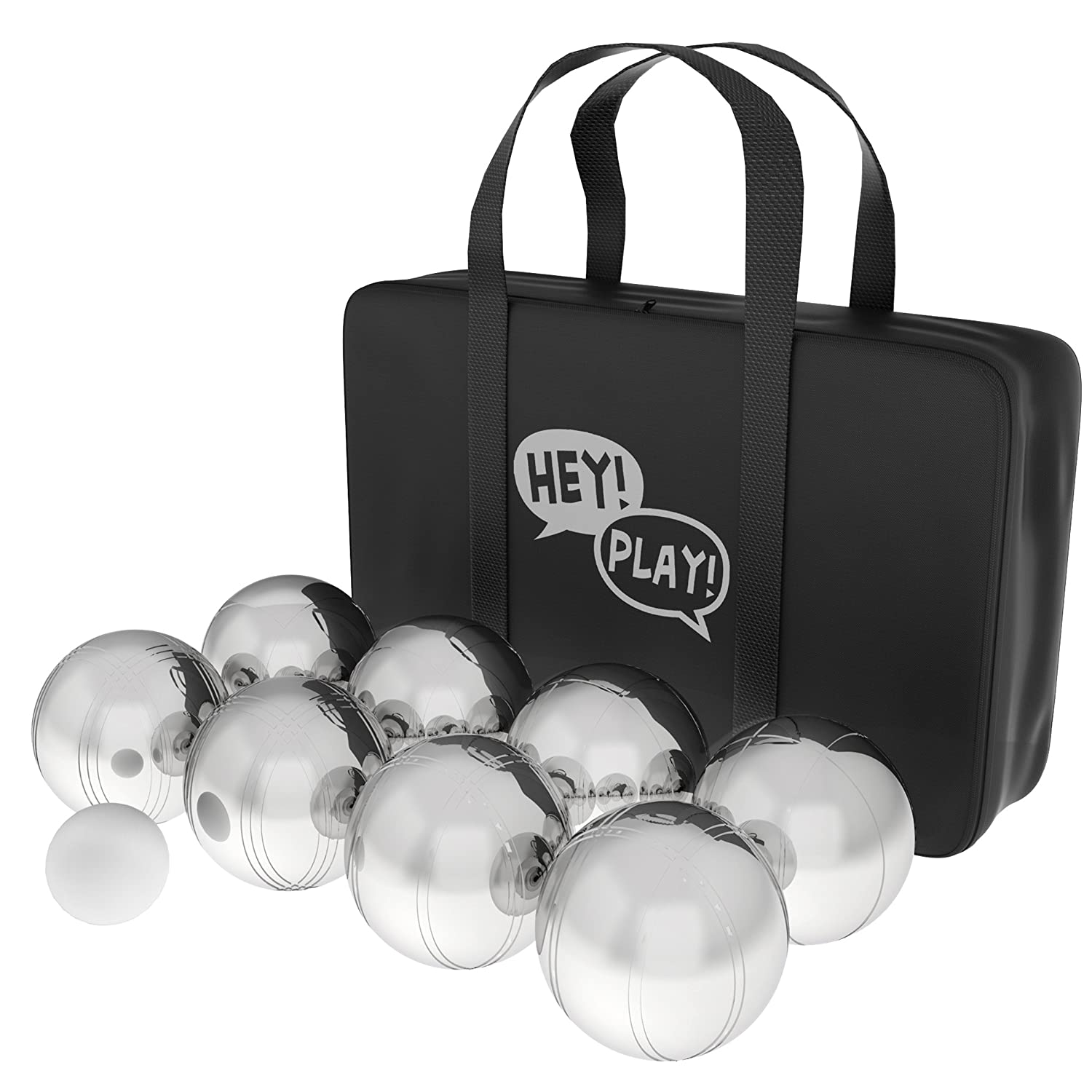 Hey 。Play 。80 – 10606 Petanque/Boules Set forボッチェ& More with 8スチール寝返りBalls