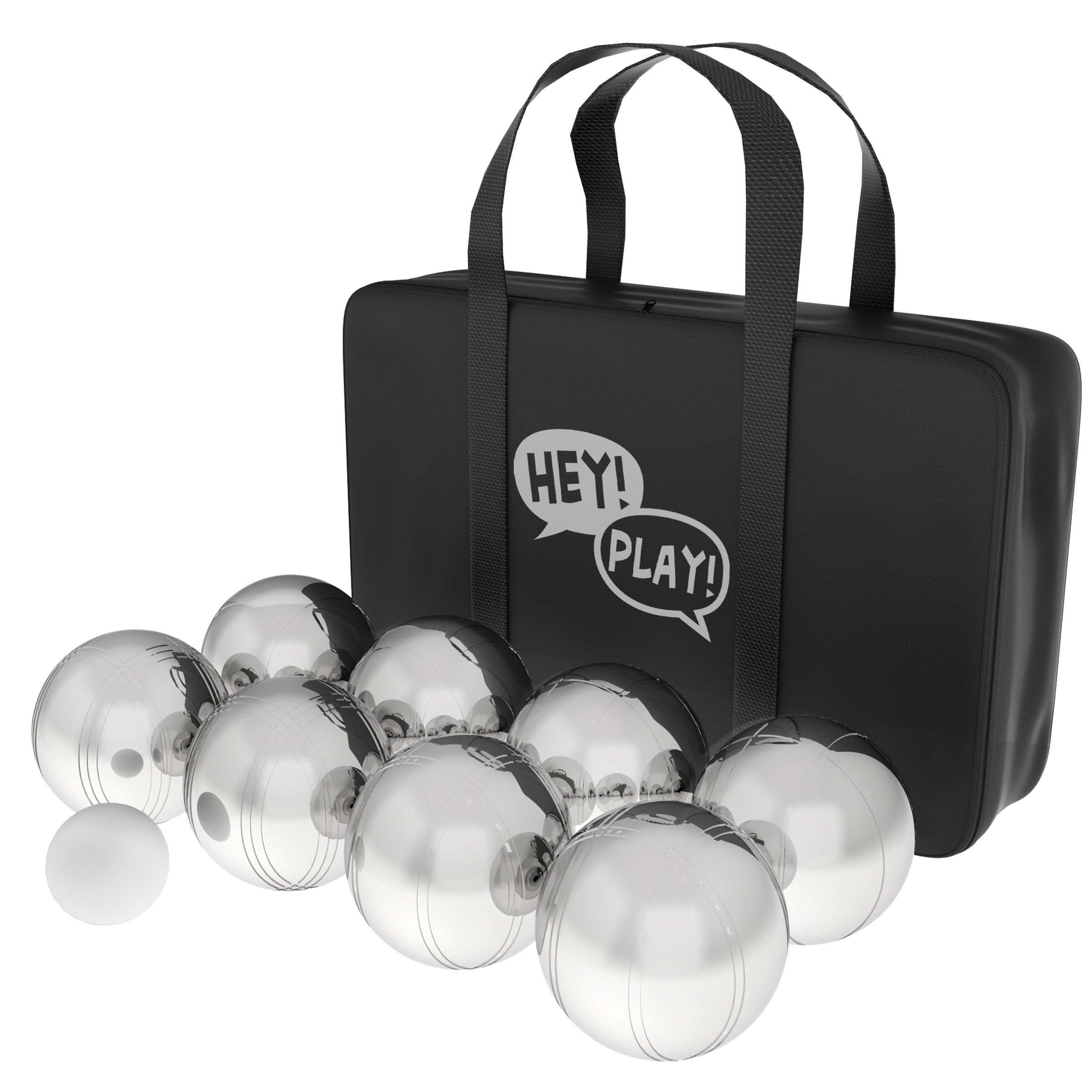 Hey! Play! 80-10606 Petanque/Boules Set for Bocce & More with 8 Steel Tossing Balls