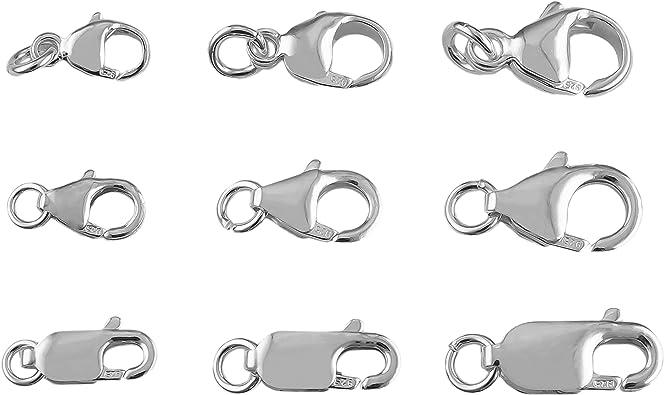 Karabinerschloss 925 Silber Weiß Kettenverschluss