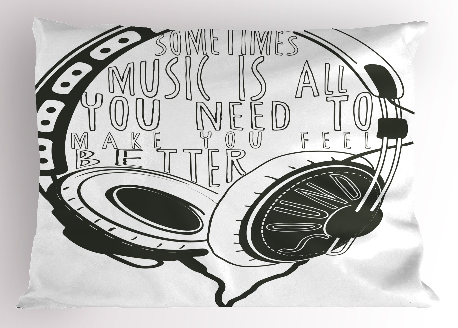Lunarable Music Pillow Sham, Headphones Industrial Design Sketch with Quote Audio Sound Stereo Scribble, Decorative Standard Queen Size Printed Pillowcase, 30 X 20 Inches, Charcoal Grey White