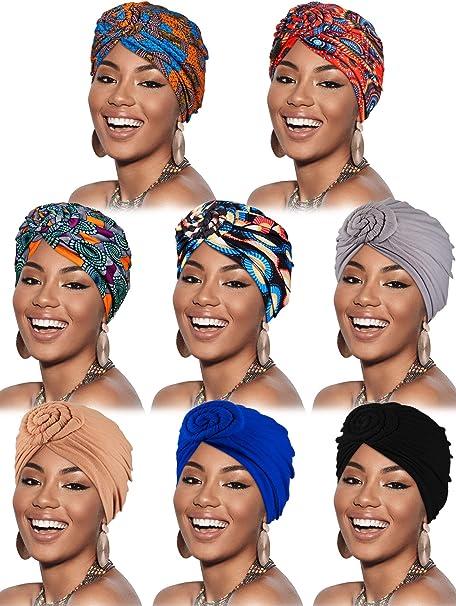 8 Piezas Gorro Turbante de Mujeres Pañuelo de Cabeza con Patrón Africano Gorra de Dormir de Algodón Elástico Pre-Atada: Amazon.es: Ropa y accesorios