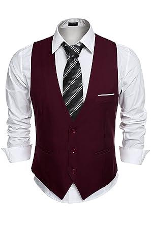 Amazon.com: De los hombres traje chaleco, cuello de pico 3 ...