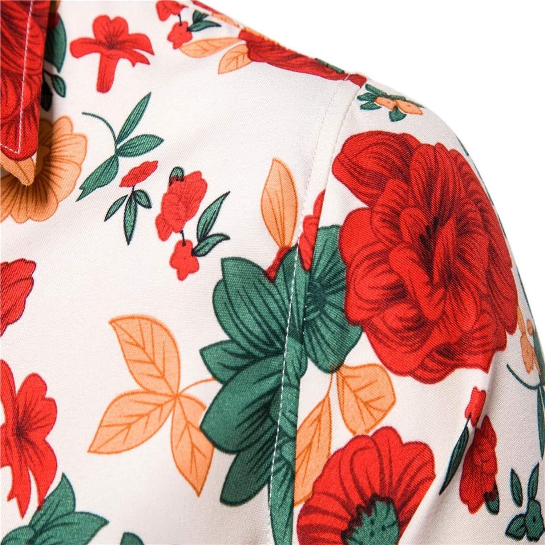 Mens Slim Flower Printed Shirts Short Sleeve Floral Shirt Men Tops Casual Shirts Plus Size S 2XL