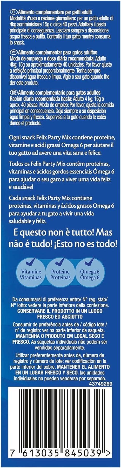 Purina Felix Party Mix Surtido Snacks, golosinas y chuches para ...
