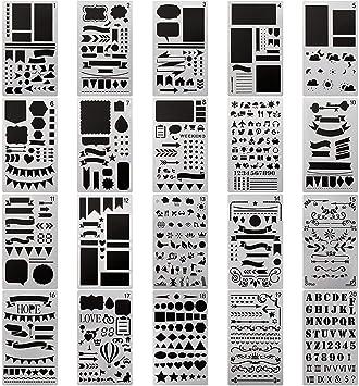 20 Pack Plantilla de Dibujo para Niños bala diario Stencil Set de ...