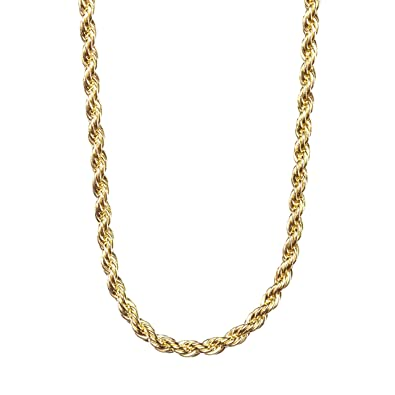 Amazon lifetime jewelry 2mm rope chain 24k gold with inlaid lifetime jewelry 2mm rope chain 24k gold with inlaid bronze 16 36 inches sciox Gallery