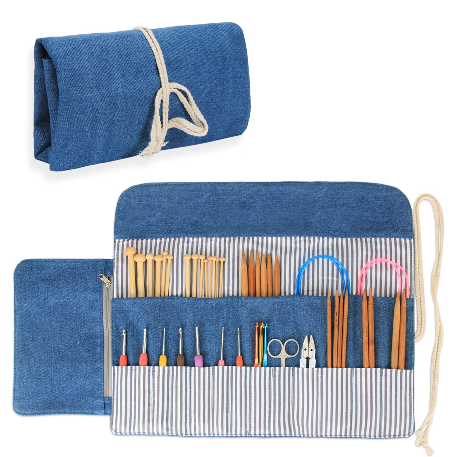 Luxja Knitting Needles Organizer, Rolling Bag for Knitting Needles (up to 10 Inches), Crochet Hooks and Accessories (No Accessories Included), Blue by LUXJA (Image #1)