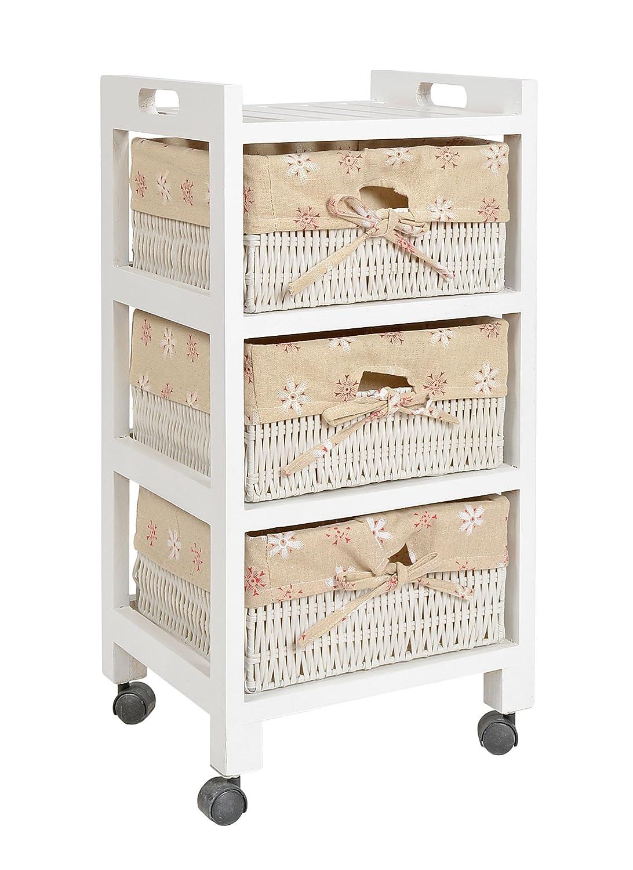 ts-ideen Mobiletto Carrello stile Country con rotelle 61x30 cm Bianco in legno di pino con 3 cestini 7390